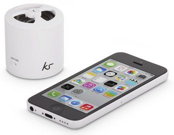 Speaker In White With iPhone Beside