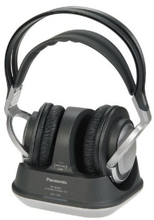 Panasonic RP-WF950EB-S Wi-Fi Headphones Sitting On Stand