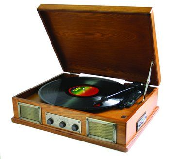 Retro Vinyl Record Player In Brown Wooden Exterior