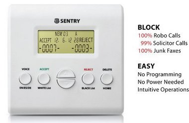 SENTRY V2.0 Nuisance Call Blocker For Landline Phones With Control Buttons