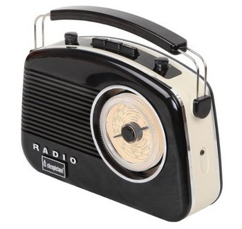 Brighton 50's Transportable Retro Radio In Black And White
