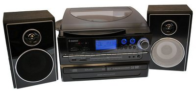 Radio CD Player In Black With Front Blue LED Display