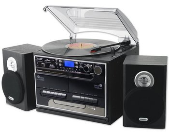 Vinyl Music Centre In Black With 2 Separate Speakers