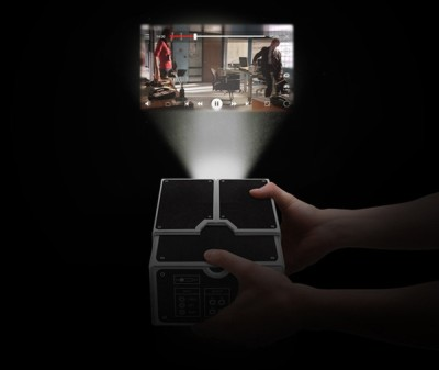 DIY Cardboard Smartphone Projector In Darkness On Wall