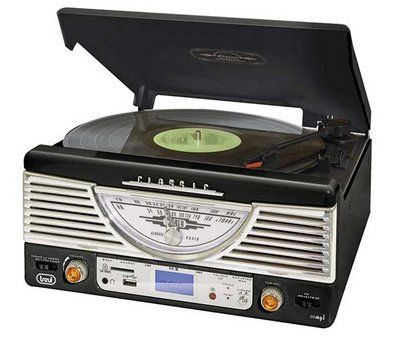Traditional 50's Vinyl Media Player In Black And Chrome Shell