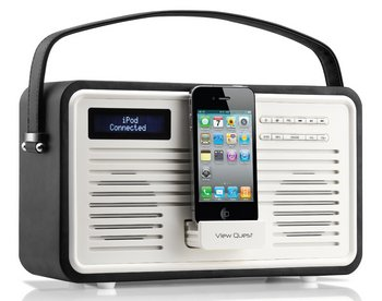 Retro DAB Radio In Black And White With Dock