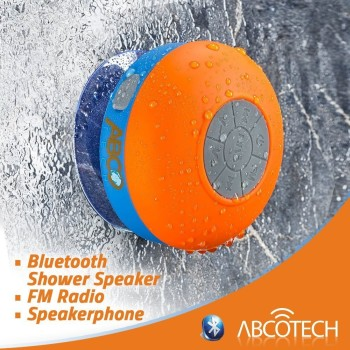 Waterproof Bluetooth Shower Radio In Blue And Orange