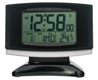 Radio Controlled Alarm Clock With Black Base