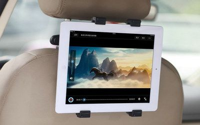 Universal Car Headrest Tablet Holder With 4 Black Hooks