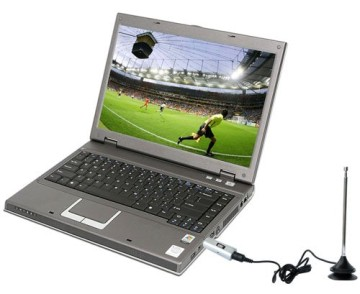 USB Freeview Stick With Screen Showing Football