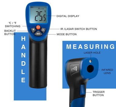 LCD Non Contact Temperature Sensor With Black Handle