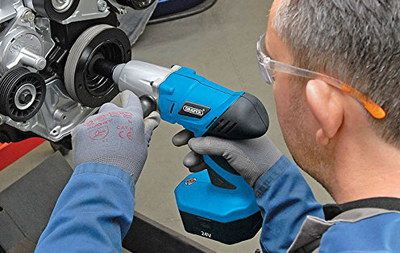 Heavy-Duty Rechargeable Impact Wrench In Black And Blue Rubber