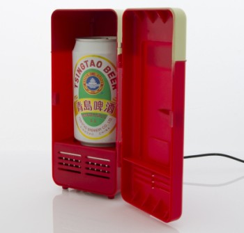 USB USB Drink Cooler Fridge In Red With Beer Can