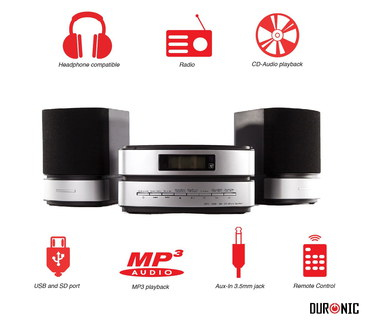 Hi-Fi Mini Sound System In Black And Chrome Effect