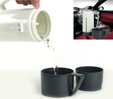 Estone 12V Cigarette Lighter Kettle With 2 Black Cups