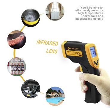 9V Laser Temperature Gun IR In Black And Yellow Rubber