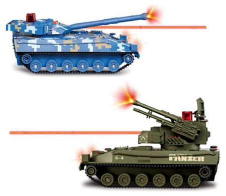Flying Gadgets Remote Control Model Tank In Firing Mode