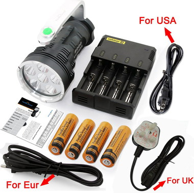 LED Flashlight 8000 LM With Yellow Batteries