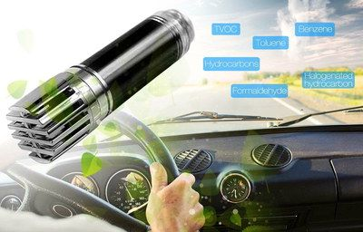 Effective Car Air Purifier Ionizer In Black And Silver