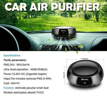 HEPA Cigarette Lighter Car Air Purifier On Dashboard