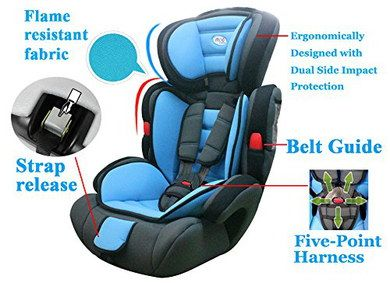 Bolstered Booster Seat For Kids In Black And Blue