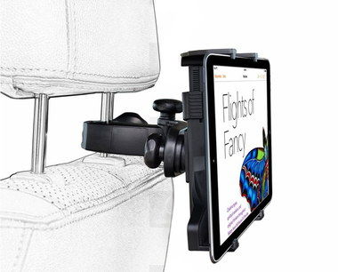 Clamp Style Rotating Headrest Tablet Mount With Black Frame
