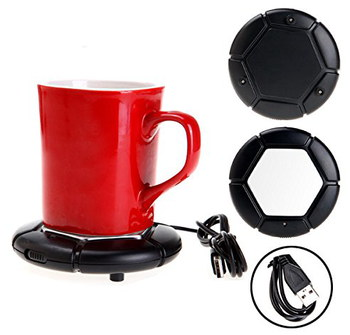 NikStore USB Mug Heater Pad In Black With Red Cup