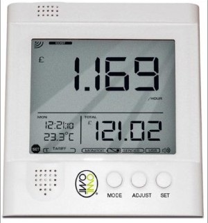 Home Energy Monitor System Showing Watts And Cost