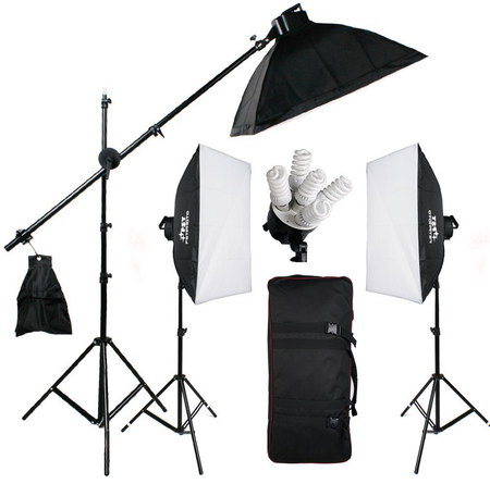 Pro Studio Camera Lighting Kit In Black Exterior Parts