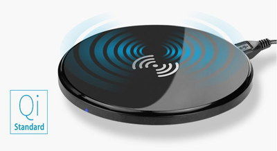 Inductive Wireless Qi Charging Pad For Mobiles With Blue Logo