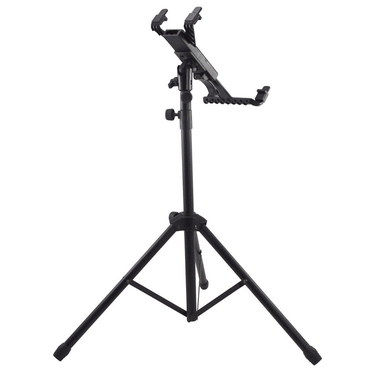 Secure Tablet iPad Tripod Stand Pedestal In Black Metal Tube