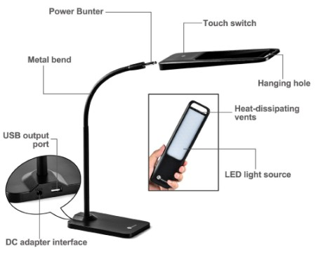 USB LED Desk Lamp Showing Adaper Interface