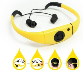 Water Proof Mp3 Headset Music Player In Bright Yellow