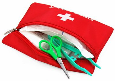 Car First Aid Kit For Emergencies In Red Bag