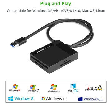 4 Slots USB Compact Flash Card Reader With Black Cable