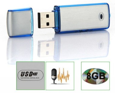 8GB USB Voice Recorder Drive In White And Blue Casing