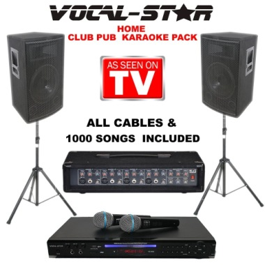 Karaoke System In Black With 2 Stands