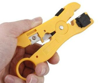 Phone Line Network Cable Stripping Tool In Orange Plastic