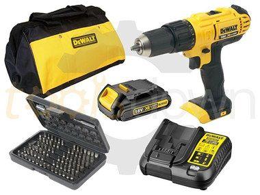18 V Hammer Drill Screwdriver Set With Black Bag