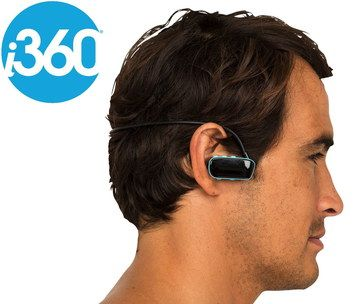 4 GB Mp3 Waterproof Headphones Worn By Man