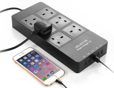 LED Lit Surge Protector With USB Slots And Smartphone