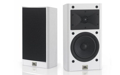 Powerful White Bookshelf Speakers With Bottom Logo