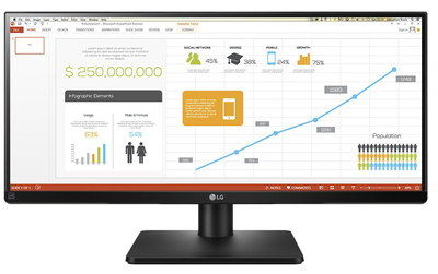 Wide HDMI 2560 x 1080 Monitor With Square Stand
