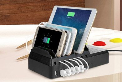 8 Slots Mobile Charging Station In Sturdy Black Casing