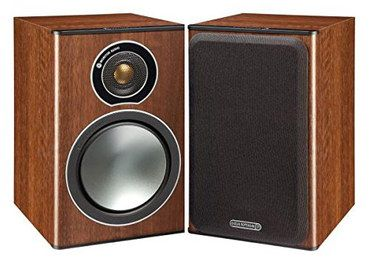 Small Walnut Wood Bookshelf Speakers With Brown Exterior