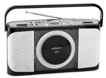 USB Slot Mp3 Boombox Player In Black And White