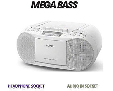 Mains Or Battery CD Tape Boombox In White Finish