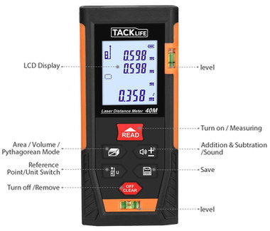 High Precision LCD Laser Measurer In Red